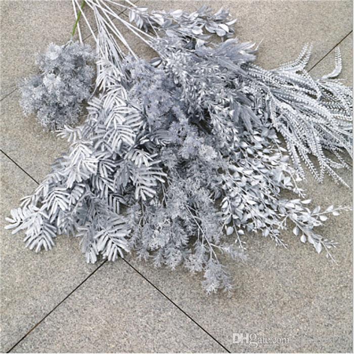 Gümüş yapay çiçekler oda ev dekorasyon çiçek duvar düğün dekorasyon gelin buketi gerçek dokunuş yaşayan ipek çiçekleri gül