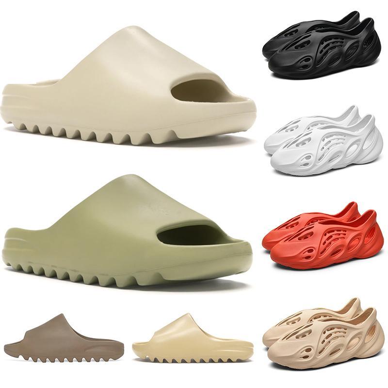Stock X Kanye West Designer Slide Foam Runner Herren Damen Hausschuhe Strand Sandalen Harz Wüste Erde Knochen Weiß Kinder Kinder Plattform Schuhe