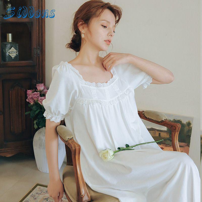 SIDDONS 여름 잠옷 여성면 얇은 긴 옷 스타일 짧은 소매 컴포트 잠옷 Famale 빈티지 홈 잠옷
