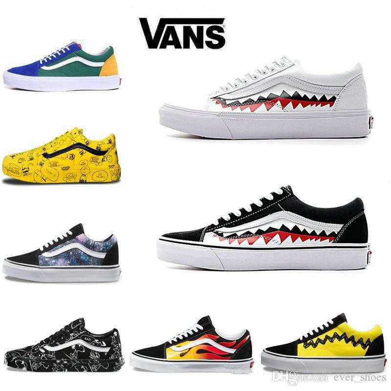 New Vans Old Skool Men Women Casual Shoes Rock Flame Yacht Club Sharktooth Peanuts Skateboard VANS Mens Canvas Skate Sneakers Slip On Footwear Sport
