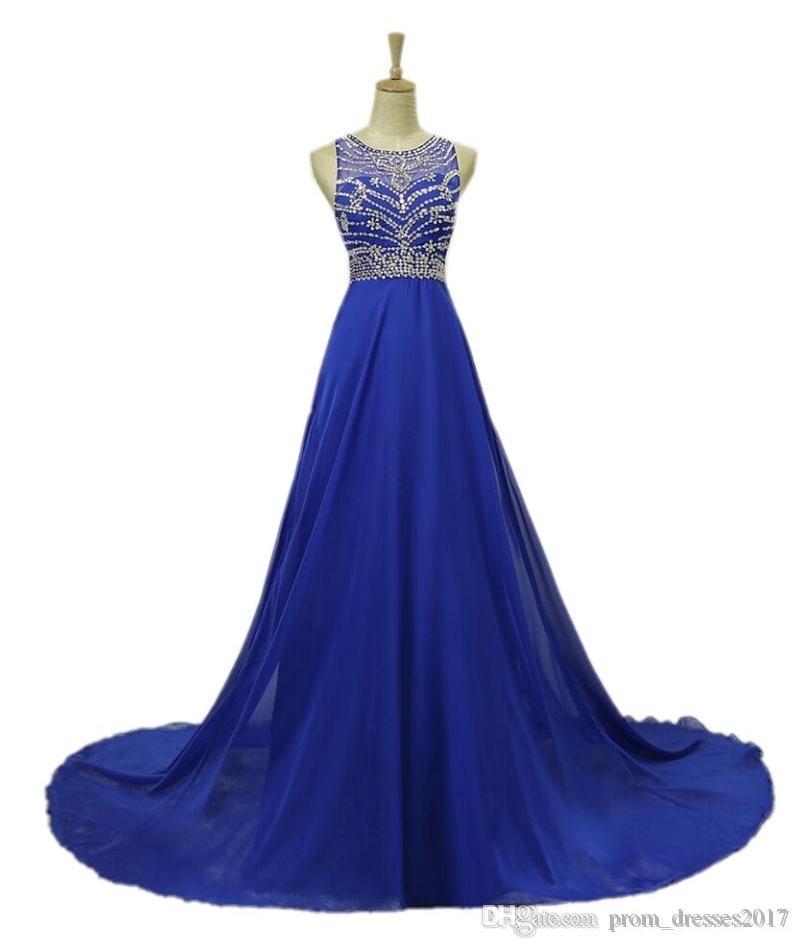 Royal Blue Luxurious Vestidos Jewel A Linha frisada Applique Trem da varredura Backless Prom Vestidos Chiffon formal do partido Vestidos