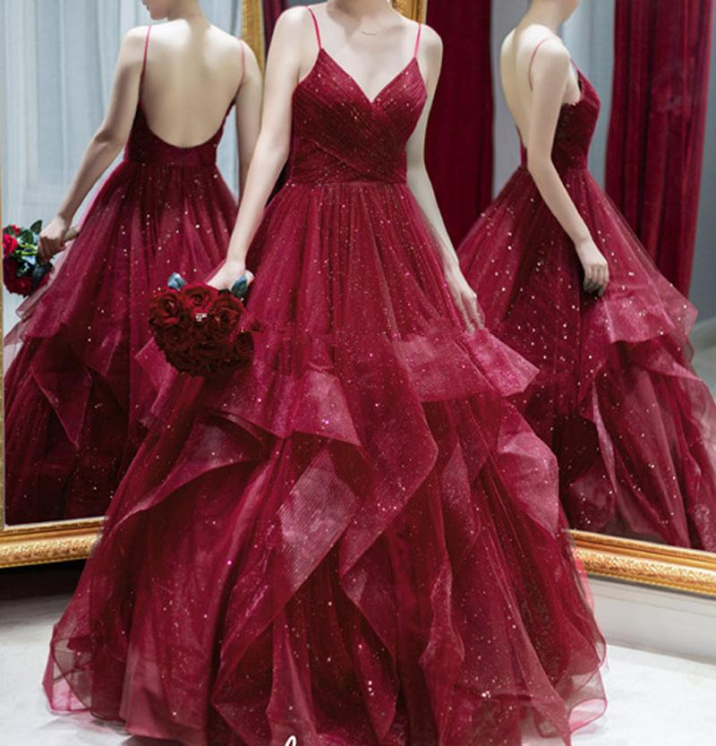 2020 New Arrival Prom Dress Burgundy Soft Tulle with Bling Bling Sequins Evening Gowns Backless Long Dress