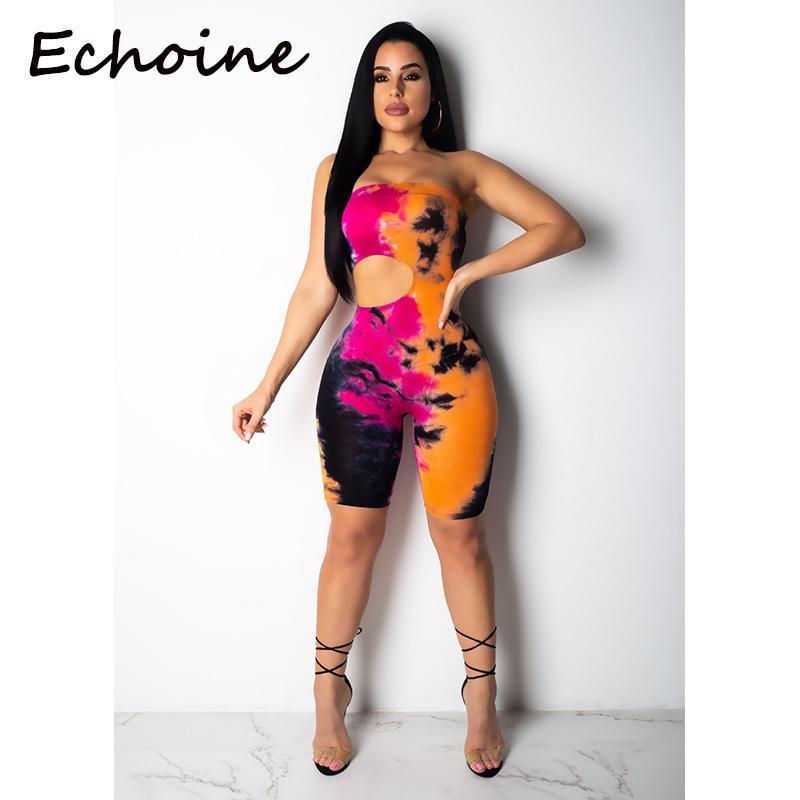 Echoine сексуальные женские комбинезоны с цветочным принтом с открытыми плечами спинки с короткими ползунками полые комбинезоны для женщин комбинезоны 2019 Y19051601