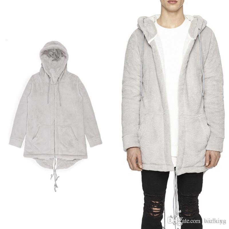 Mens streetwear Autumn Hooded Coat Middle Long Casual Cardigan Sweatshirt Flannel Comfortabl With Zipper Sleeves Bottom Curved