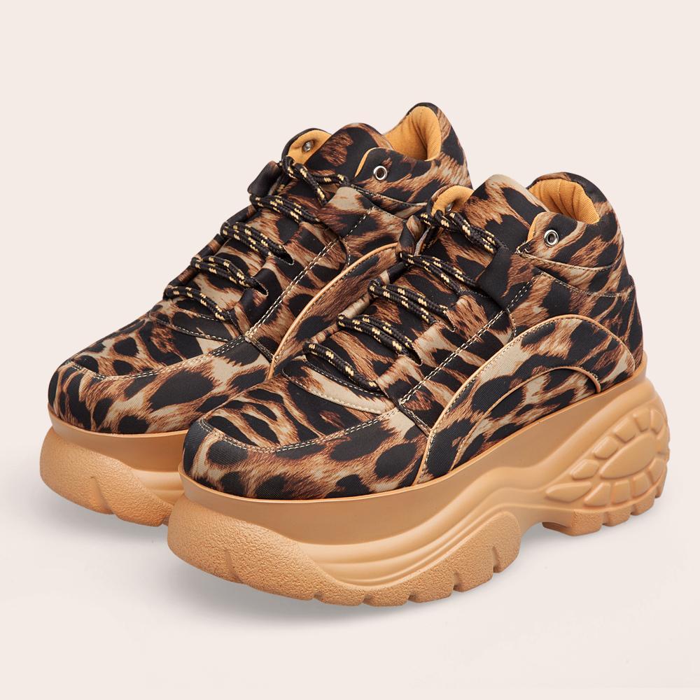 Plate-forme Chaussures de sport Leopard 2019 Mode automne Printemps Femme Chunky Chaussures Femme causales Lycra Plate-forme Chaussures Femmes Chaussures Y200108