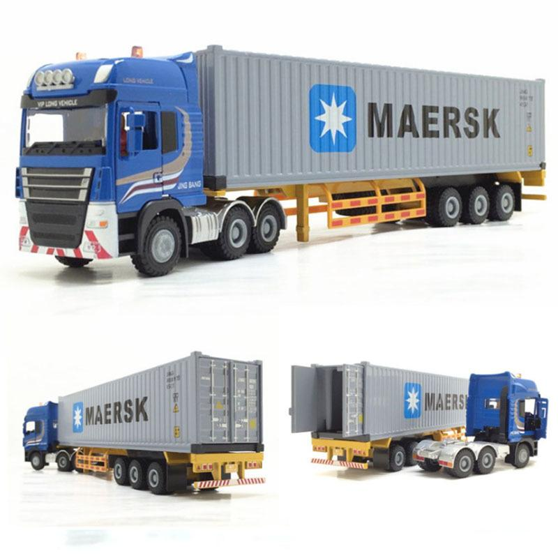 1/50 Scale Alloy Metal Truck Trailer Container Truck High Simulation Diecast Model Engineering Vehicle Toy collection display Y200109