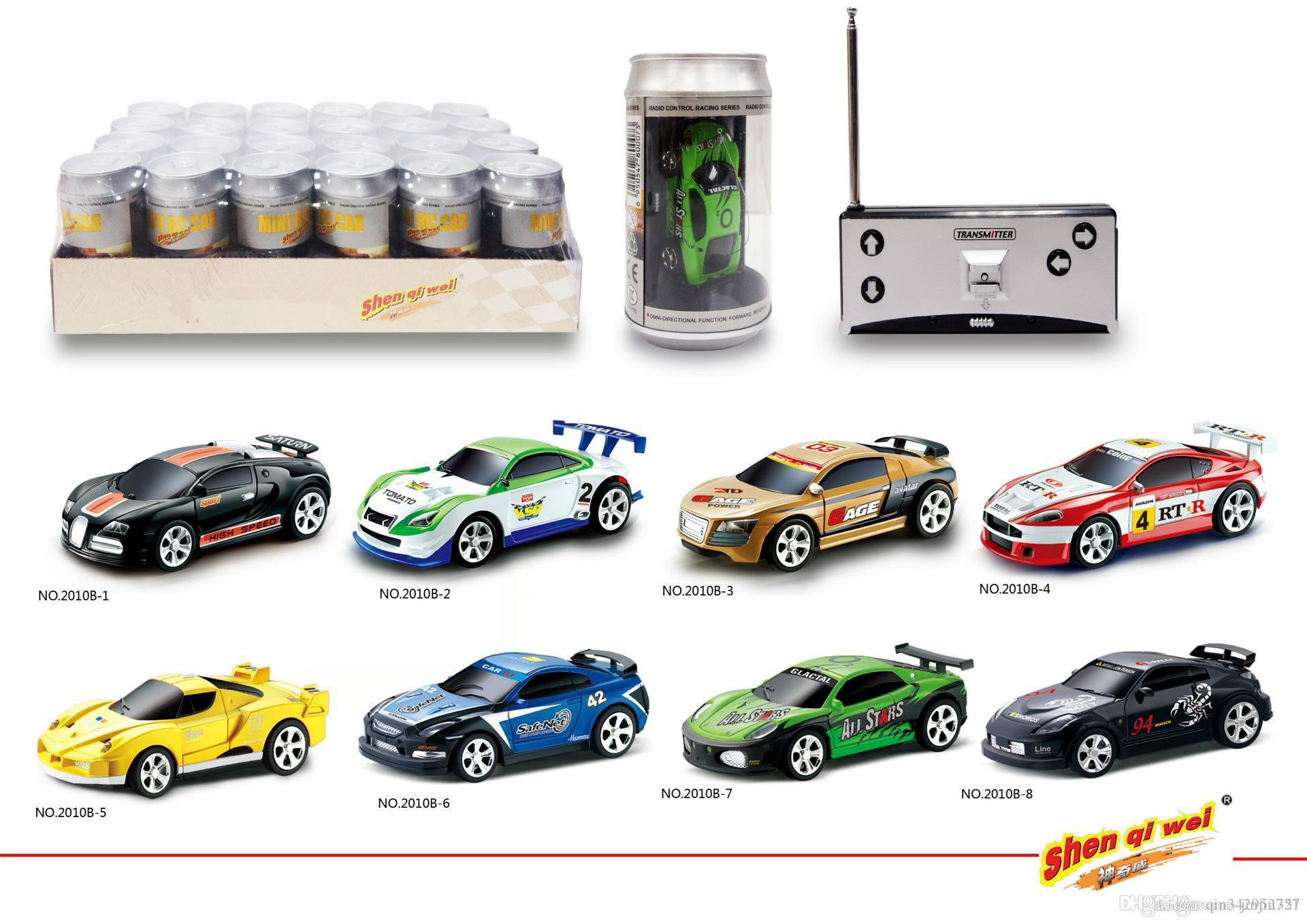 48pcs/lot Creative Coke Can Remote Control Mini Speed RC Micro Racing Car Vehicles Gift For Kids Xmas Gift Radio Contro Vehicles