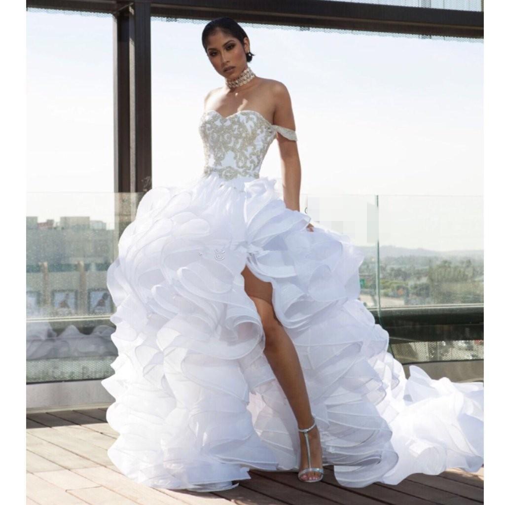 Blanc Robes De Mariée 2020 dernière a-ligne Robe De Mariée Robes de mariée Organza Dentelle ruches Zipper Retour côté de Split Long Train Custom Made