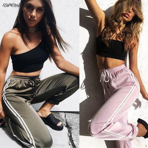 Moda Yüksek Kadınlar Seksi Pantolon Çizgili Yan Gevşek İpli Elastik Yüksek Bel Ince Uzun Kalem Rahat Pantolon