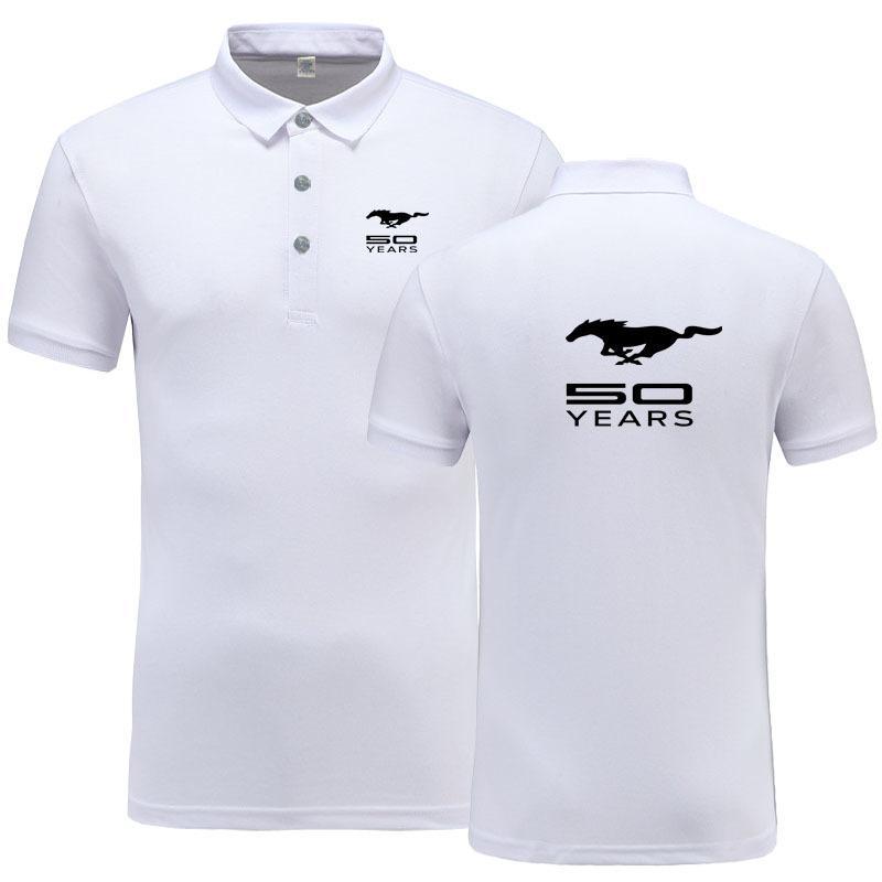 New verão de manga curta Polo Homme alta qualidade de algodão Moda Mustang Logo Imprimir Polo Business Casual Camisa Polo