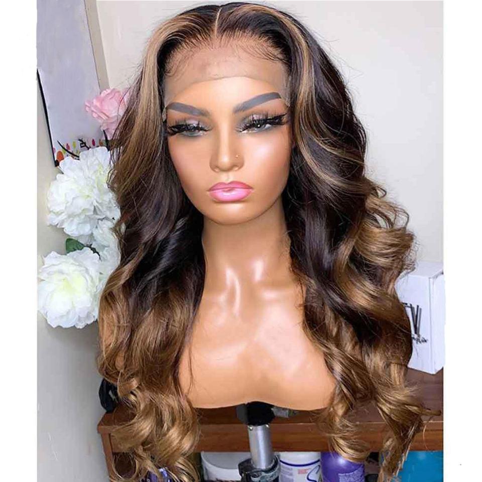 Destacados de onda natural Brown Brown Encaje completo Peruano Pelucas de encaje completo Pelucas Preparadas con cabello para bebé Frente de encaje Pelucas de cabello humano