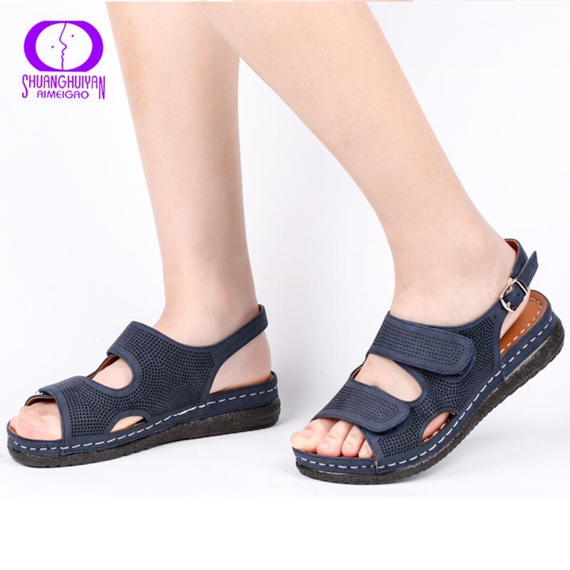 AIMEIGAO Plus Size Casual Mulheres Sandálias Sapatos apartamentos confortáveis sapatos de salto respirável exterior salto baixo Comfort Shoes 2019 New LY191202