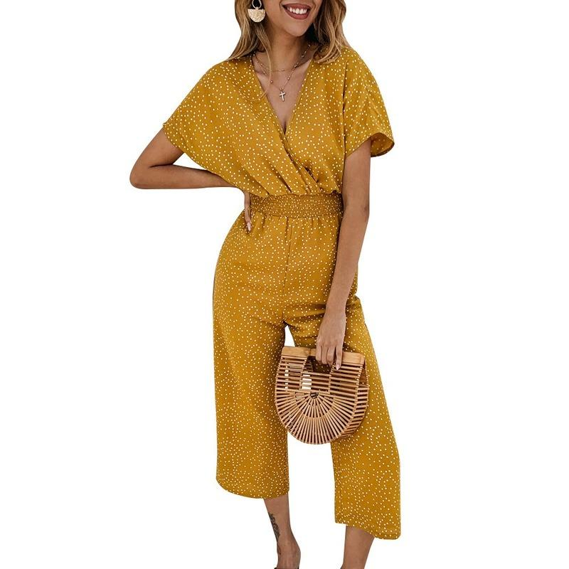 Casual Womens Jumpsuits 2020 Print Overalls For Women Sexy V-neck Clothing Fashion Female Streetwear Summer Loose Jumpsuits