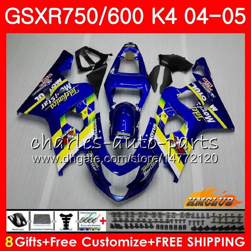 SUZUKI Için Kaporta GSXR 750 GSX R750 GSX-R600 GSXR600 04 05 7HC.15 GSXR-750 GSXR 600 04 05 K4 GSXR750 2004 2005 Movistar Mavi Kaplama kiti