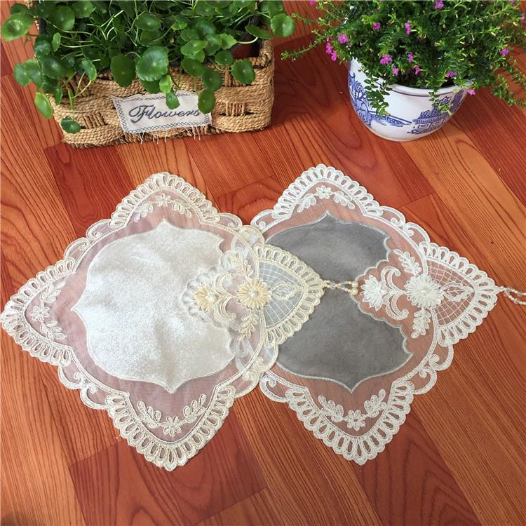 European Brocade Mesh Stitching Embroidered Placemat Coffee Cup Mat Vase Pad Phone Cover Towel Christmas Wedding Decor