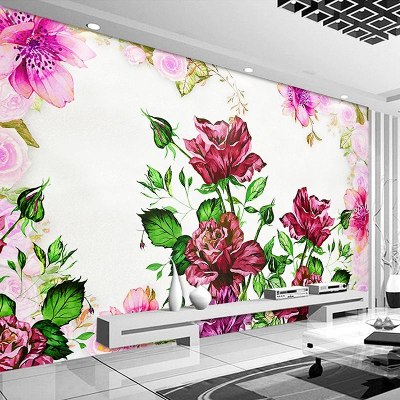 Dropship Custom 3D Mural Wallpaper Hand Painted Flowers Oil Painting Pastoral Living Room Bedroom Dining Room Wall Decor Papel De Parede