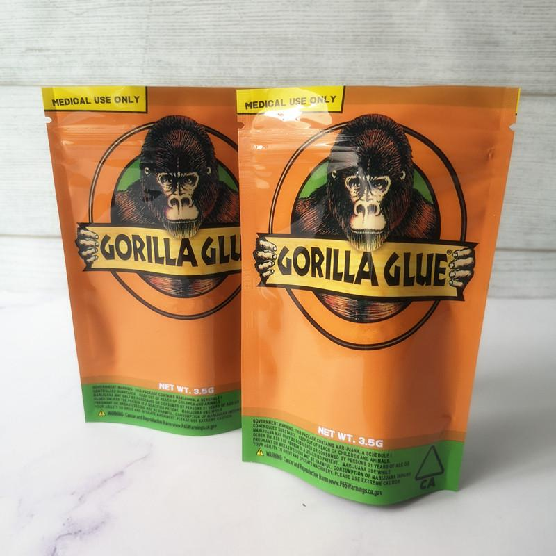 New GORILLA GLUE BAG California 3.5g Mylar Bags Smell Proof Bags GORILLA GLUE Zipper bag For Dry Herb Flower Packaging Package