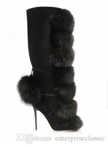 Femmes noires hiver Sexy boule de poils de renard agrémentée au genou bottes hautes filles talons hauts bottes longues dames fermeture éclair