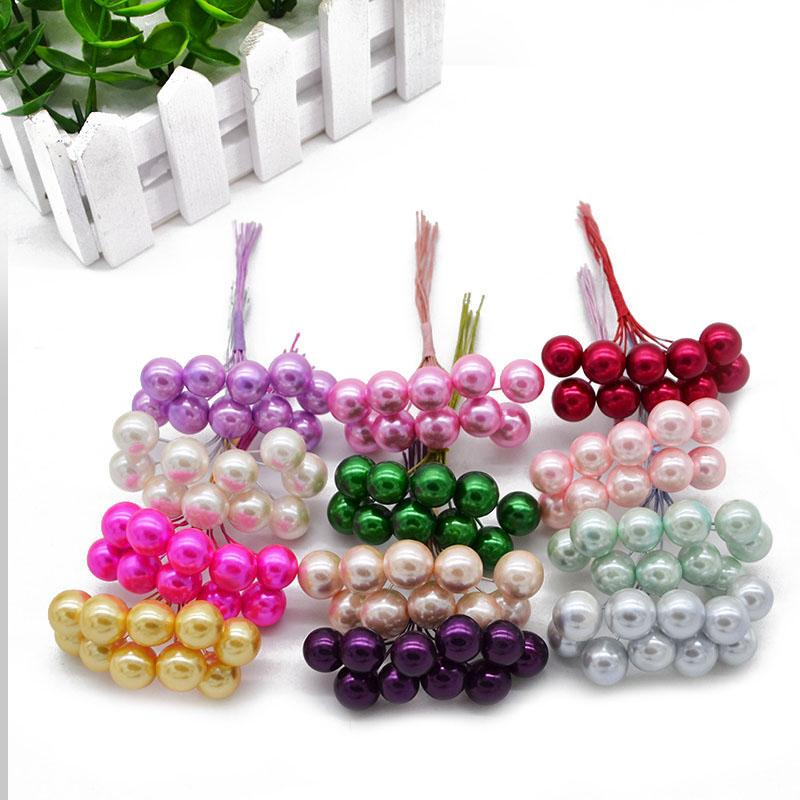 50Pcs 12mm Artificial Pearl Flower Stamens Cherry Berries Foam Fake Fruit Small Wedding DIY Gift Box Decorated Xmas Wreaths