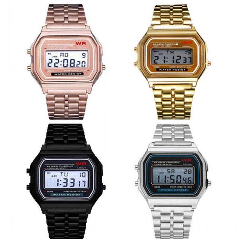 متعددة الوظائف WR F91W F91W الأزياء رقيقة جدا الساعات المعدنية مربط الساعة LED تغيير ساعة رياضة A159W الرجال رياضة المرأة ووتش ساعات