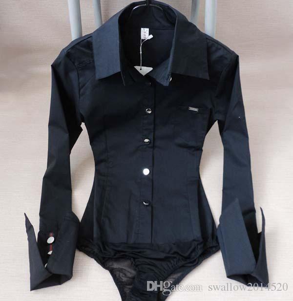 Crazy2019 여성 스타일 포켓 뾰족한 커프 바디 슈트 블라우스 숙녀 경력 슬림 긴 소매 버튼 다운 화이트 셔츠 탑 천 무료 배송