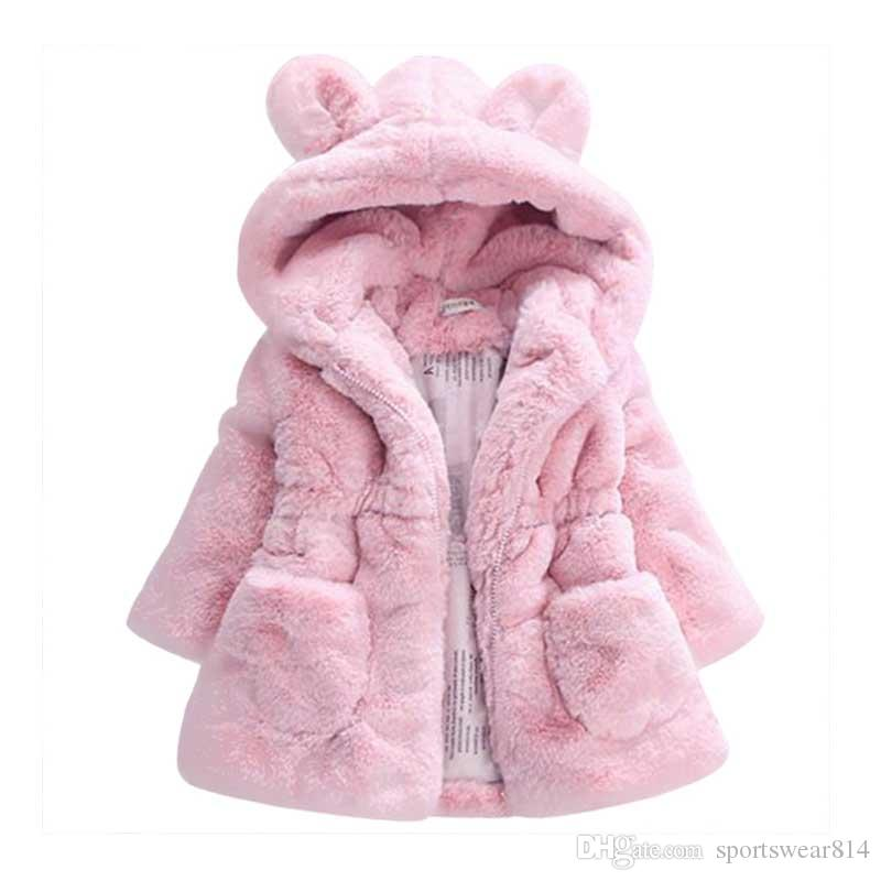 Kids Designer ragazze cappotto di pelliccia di inverno incappucciato bambino giacca spessa della neonata di giacche calde pesanti per le bambine Outwears Orsetto Cappotti