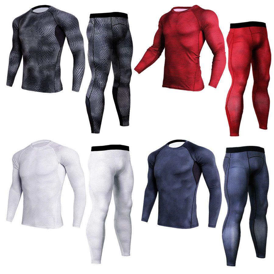 Erkekler takım elbise MMA sıkıştırma giyim erkek set spor tozluk erkek tişörtleri termal iç çamaşırı temel katman eşofman rashguard