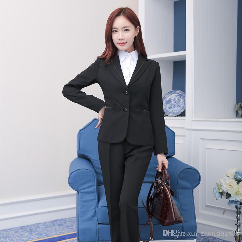 하이 엔드 새로운 전문 여성의 정장 OL 화이트 칼라 호텔 프런트 기질 양복 대형 바지는 두 조각의 여성을 설정