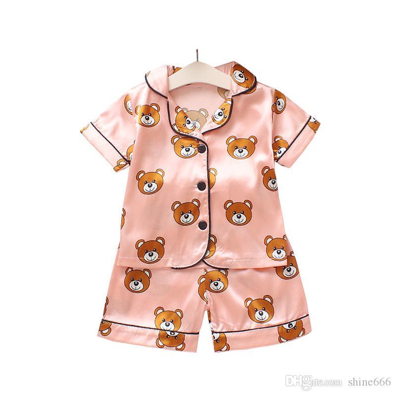 Le ragazze dei ragazzi del progettista pigiami del fumetto Orso casa Vestiti per bambini di moda i bambini insieme a due pezzi a manica corta Suit bambini a casa abiti di vendita al dettaglio