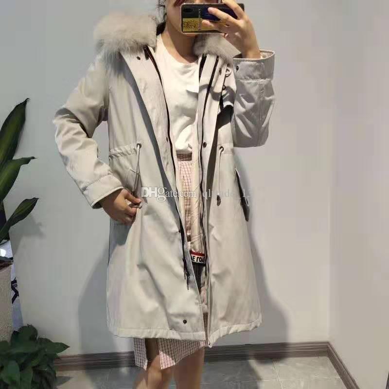 casacos de neve Mukla peles marca bege de pele de coelho branco alinhado bege jaquetas longas brancas com YKK zipper pele de raposa remates parka de inverno longos