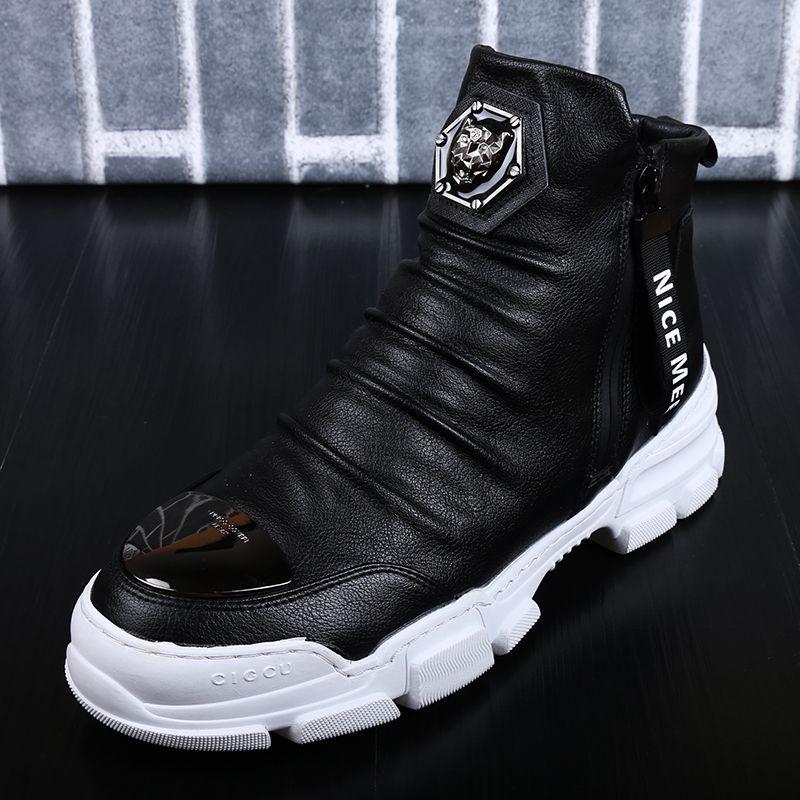 Erkekler Ayakkabı Tasarımcısı Gerçek Deri Kış Sıcak Açık Bilek Boots Kar Boots Casual Sneakers tutun 6 # 20 / 20D50