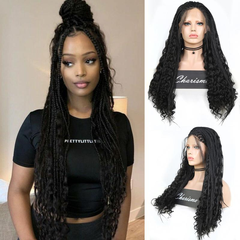 Long Braided Wigs for Black Women Synthetic Lace Front Wig with Baby Hair Box Braids Natural Free Part Cosplay Wig