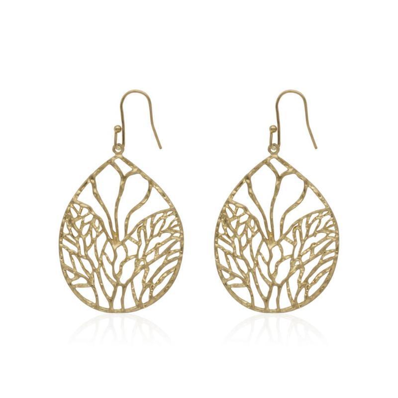 2020 nouveau métal arbre de vie en forme de goutte creux exagérée boucles bijoux simples dames cadeaux de fête