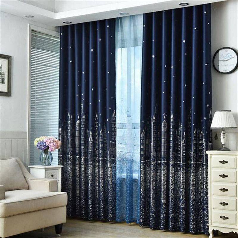 Cortina parasol Habitación Sala Persianas Decoración gruesa ventana Cortinas Castillo Negro Moderno tela de la cortina