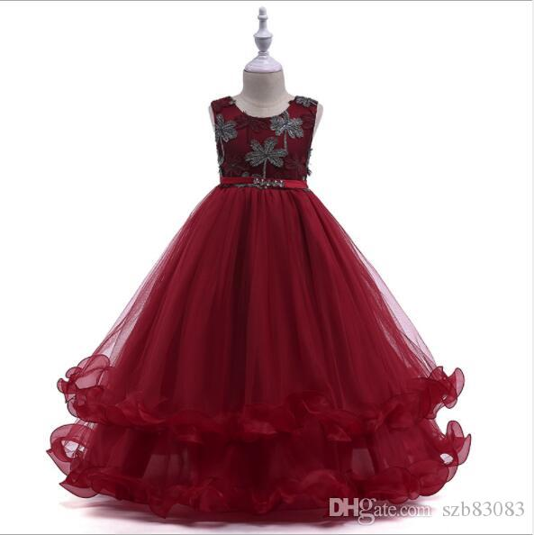 2019 New Red Bead Lace Girl Summer Dress Flower Girl Dress for Wedding Princess Ball Gown Party Birthday Dress First Communion Dresses