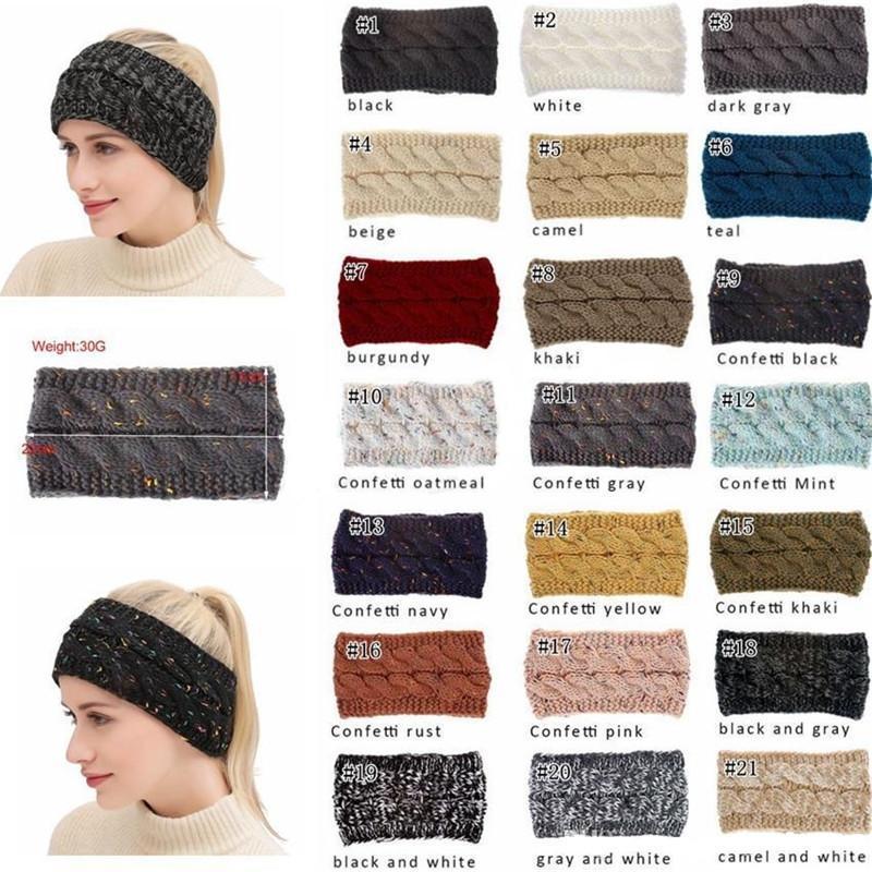 21Cor de malha Crochet ampla Headband mulheres Esportes de inverno Headwrap Hairband Turbante Ear Warmer Muffs Ear Muffs rabo de cavalo accessaries