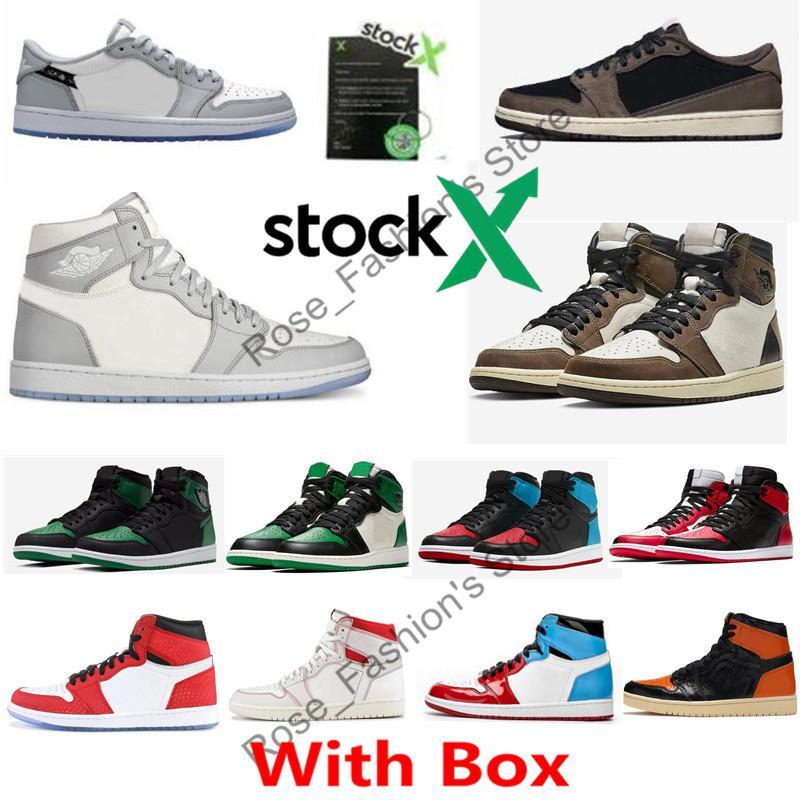 Con la scatola 1 scarpe di alta OG lupo grigio Sail Photon polvere bianca Travis Scotts pallacanestro 1s Pino Verde UNC a Chicago viola corte Mens Sneakers