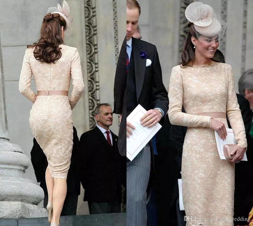 Kate Middleton Long Sleeves Evening Dresses 2019 Champagne Knee Length Celebrity Holiday Wear Formal Party Prom Gowns Plus Size