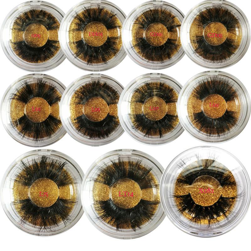 مختلط أنماط الرموش 3D المنك الشعر Wispy الحجم الكامل ناتروال جلدة Feathery Flared Variety Pack Lashes