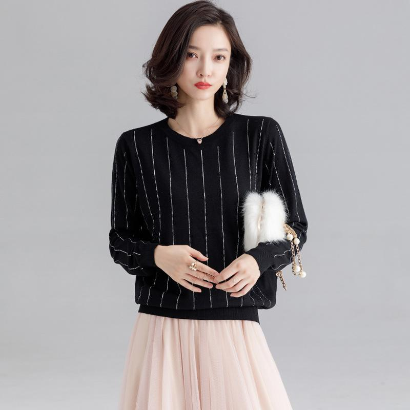 Knitted Pullover Women Sweaters Korean Chic Autumn Long Sleeve Light Silk Wool Fashion Loose Striped Pull Femme Woman Knit Tops