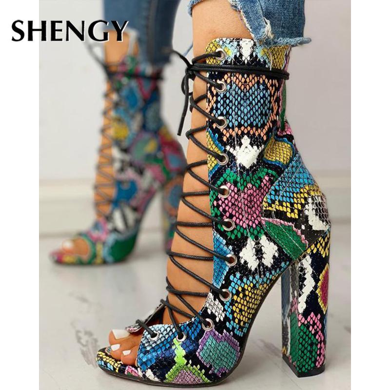 SHENGY Gece Kulübü Bahar Serpantin Platformu Yüksek Topuklar Kadınlar Moda Yüksek Topuklar 10cm Platformu Sandalet Parti Düğün Ayakkabı