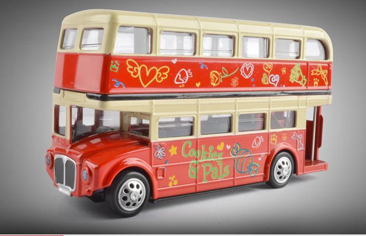 MZ Diecast Alloy London Double-decker Bus Model Toys, Tour Bus, 1:32 with Light& Sound, Pull-back, Ornament, Xmas Kid Birthday Gift, Collect