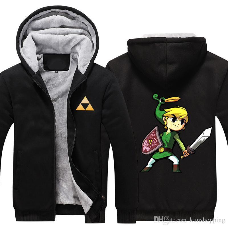 Zelda capa del invierno de la cachemira sudaderas con capucha capa del algodón del invierno espesan la capa de lana de la chaqueta de la rebeca de Super chaqueta caliente Tamaño libre camiseta de la UE de EE.UU.