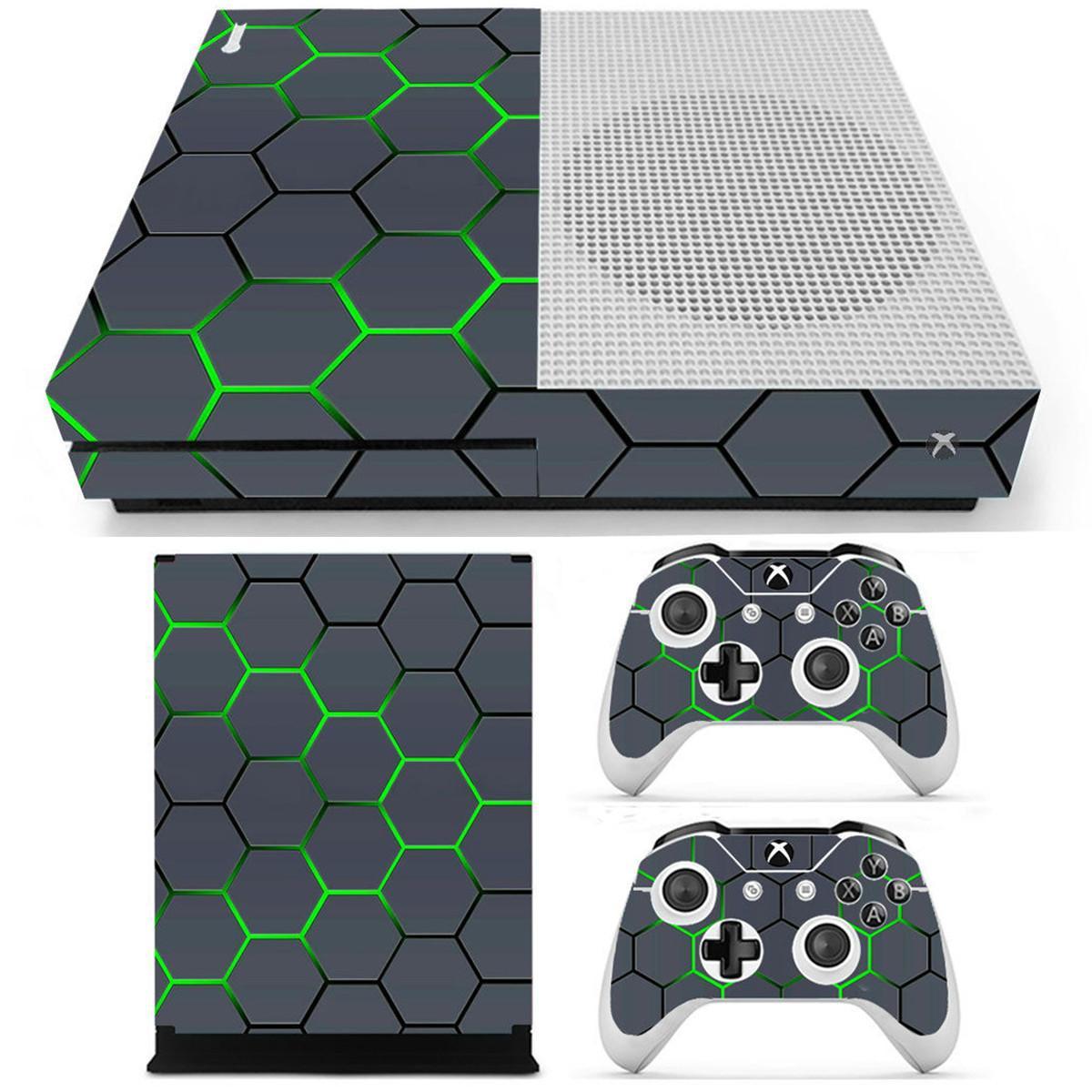Xbox One S Oyun Console2 Kontrolörleri için Yeşil Izgara Vinil Etiket Cilt Etiketler Kapak