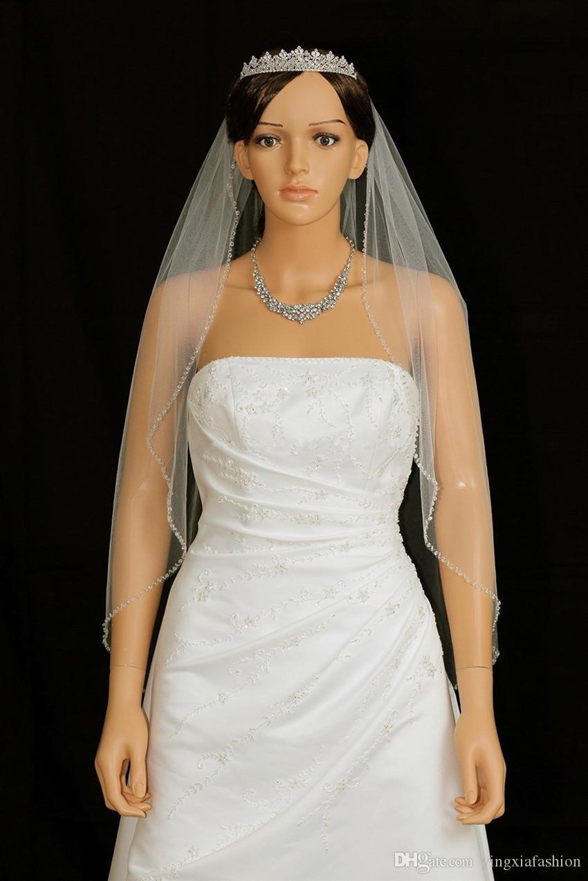 Yeni İnanılmaz Bir Katmanlı Yüksek Kalite Gerçek Resim Düğün Veils Bilek Uzunluğu Meidingqianna Tül Parti Olaylar Düğün Boncuklu Kenar