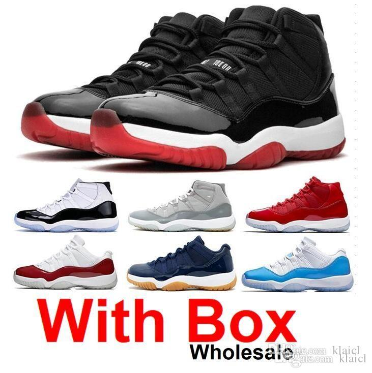 With Box 2020 New Mens and Womens 11S Bred High Black Red Basketball Shoes Brand Designer Sneakers for Men Sports Shoes Concord 11