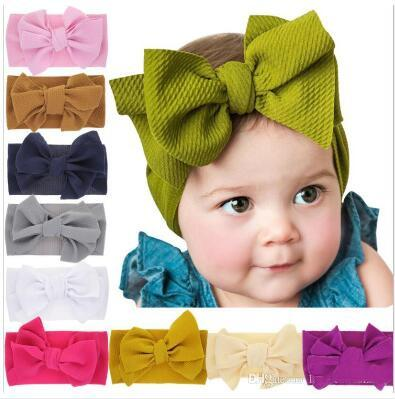 INS New Baby Hairbands 18colors Soft Elastic Baby Girls Headbands Baby Girls Big Bowknot Headbands DIY Turban Knot Kids Hair Bows