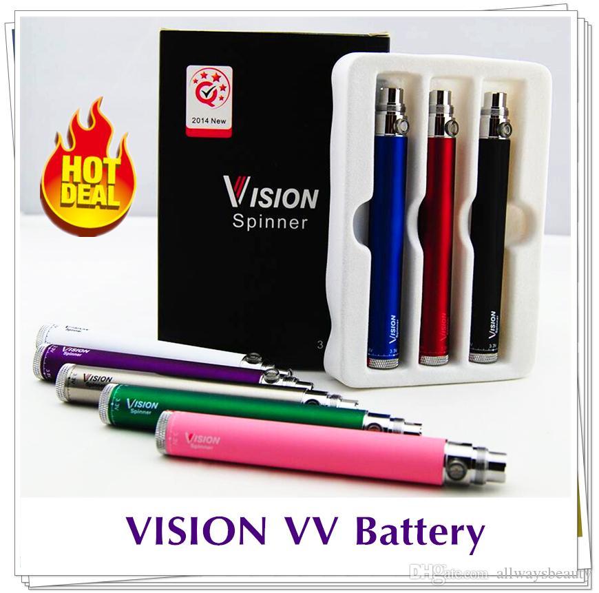 Top Visão Spinner Baterias 650/900 / 1100 / 1300mAh Ego Twist 3.3 ~ 4.8V VAVABLE VAC VAK PEN 510 Bateria para Cigarros Eletrônicos Atomizador