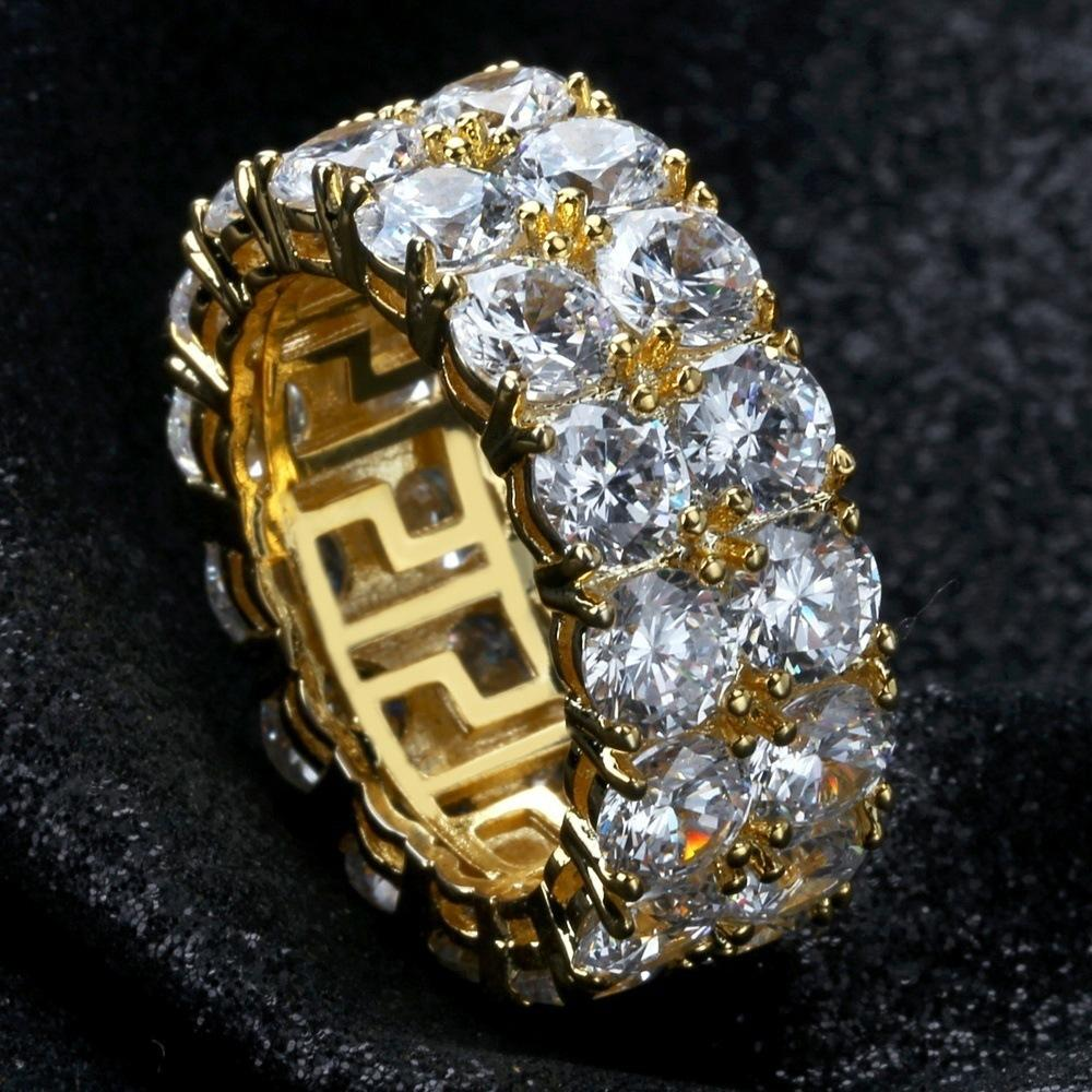 Amazon vende deseo nuevos anillos para hombre hiphop de Europa y América con doble fila de anillos microinlaid circón y