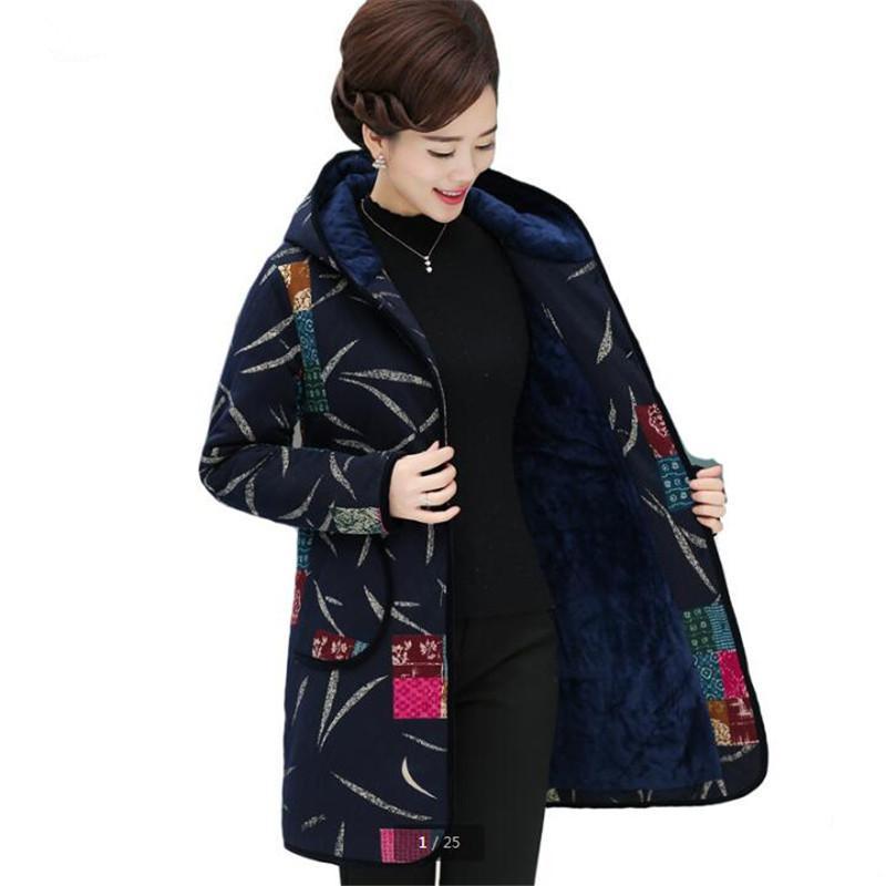 Veste hiver vêtements en coton rembourré Pour garder Épaississement manteau chaud Cotten Ajouter laine à capuche Vêtements femme d'âge moyen K2940